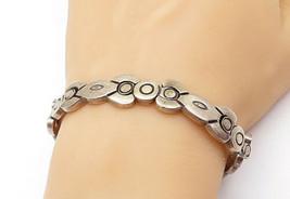 MEXICO 925 Silver - Vintage Dark Tone Etched Detail Chain Bracelet - B7391 - $150.07