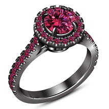 Pink Sapphire Black Gold Plated 925 Sterling Silver Solitaire With Accen... - $107.82 CAD
