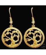 SALE 1542 New Gold Plated Celtic Tree of Life  Earrings - $36.12