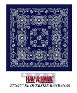 "Hav-A-Hank XL BIG SIZE BLUE PAISLEY 27""BANDANNA Head Wrap Face Mask Neck... - $10.52"