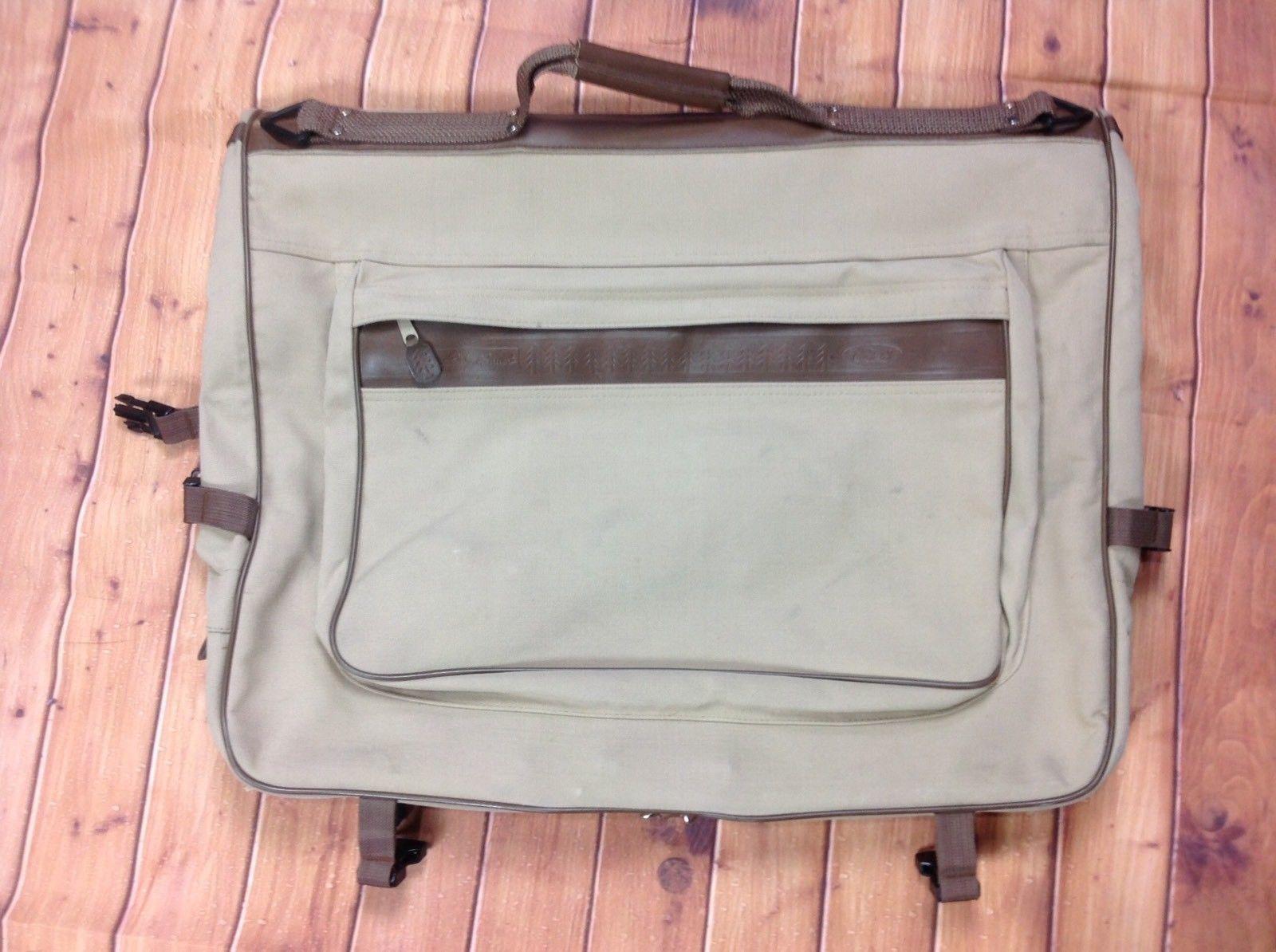 c60724f6e802 Eddie Bauer Ford Tan Canvas Folding Hanging Suit Garment Bag Dress Luggage  Beige
