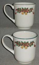 Set (2) Johnson Brothers VICTORIAN CHRISTMAS PATTERN 10 oz Handled Mugs ... - $39.59
