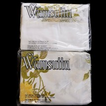 Vtg Wamsutta Ultracale Shadow Rose Full Flat Fitted Sheet Set Yellow Flo... - $29.99