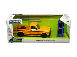 972 Chevrolet Cheyenne Pickup Truck Orange w/Black Stripes w/Extra Wheel... - $44.95