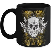 Grunge Skull Coffee Mug Travel Ceramic Novelty Mug Black Gift Ideas Men ... - $14.95+