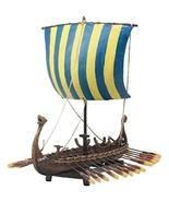 Ebros Scandinavian Viking Norseman Dragon Longship Model Statue With Bas... - $71.27