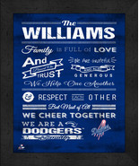 """Personalized Los Angeles Dodgers """"Family Cheer"""" 13 x 16 Framed Print - $39.95"""