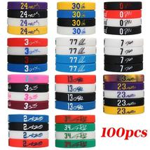 100pcs/lot Basketball Silicone Bracelets Sport Wristbands for Men Basket... - $59.28