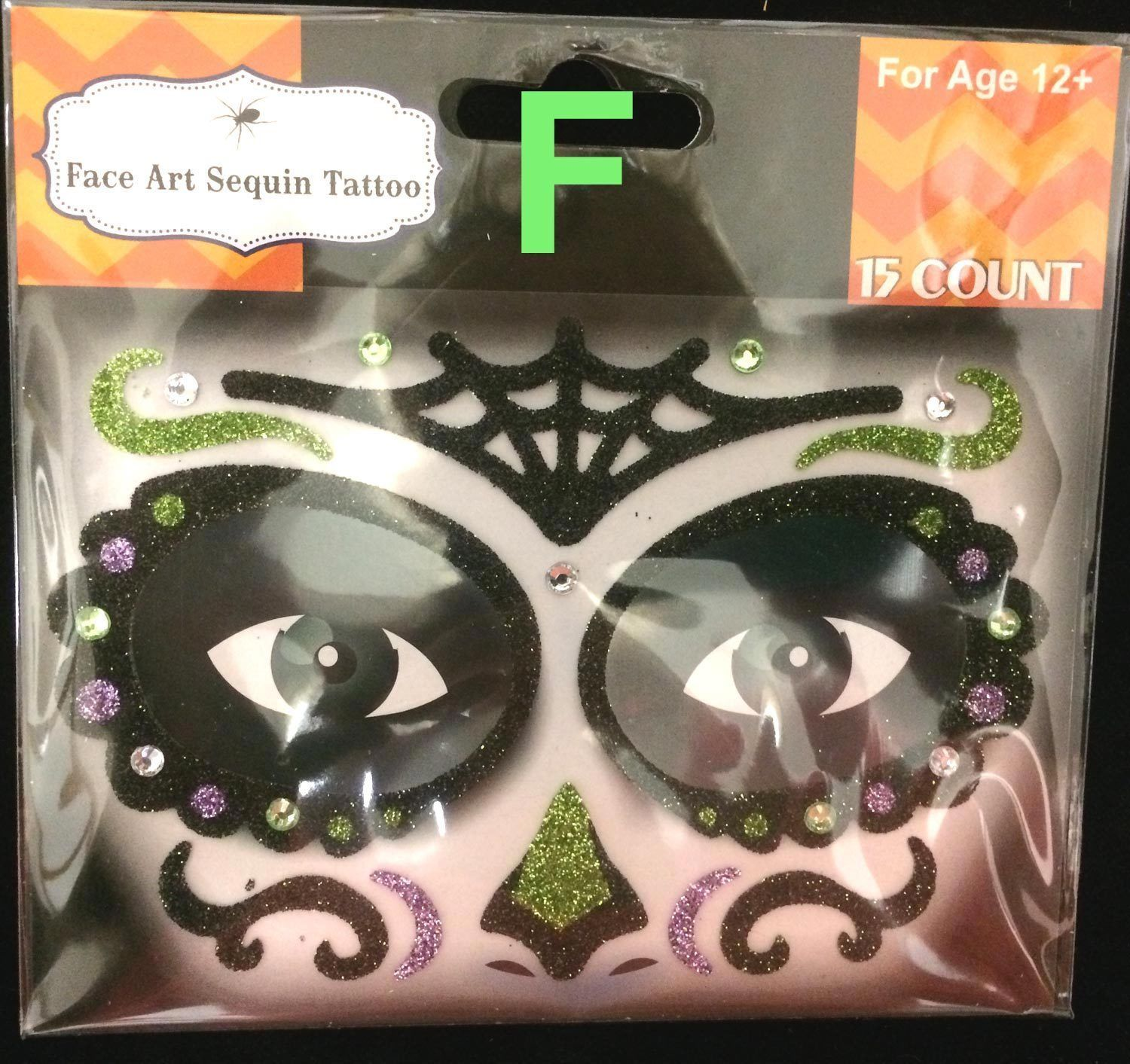 Gothic Tattoo EYE DECALS Mardi Gras Makeup Face Art-DAY DEAD SUGAR SKULL-Choose1