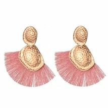American Style Big Fan Shape Drop Earrings For Women Ethnic Irregular Go... - $4.07