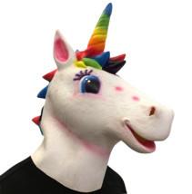 Unicorn Mask Helmet Halloween Cosplay Season Natural Platex Rainbow Version image 1