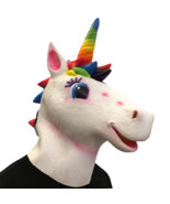 Unicorn Mask Helmet Halloween Cosplay Season Natural Platex Rainbow Version - $28.99