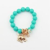 Vintage Bohemia National Beads Lucky Elephant Stretch Bracelet Women  Green - $25.99