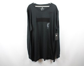New Nike Mens Large Long Sleeve Drop Tail Spell Out Patch Casual Tee Shi... - $26.68