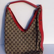 Gucci handbag beige red black interior dbl. zipper pulls horse it monogr... - $160.00