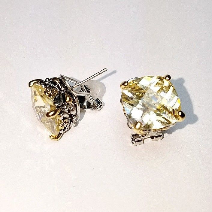 Designer Style Yellow Cushion 5A CZ Two Tone Silver Gold BALINESE Omega Earrings