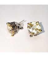 Designer Style Yellow Cushion 5A CZ Two Tone Silver Gold BALINESE Omega ... - $24.74