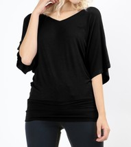 Dolman Sleeve Tops, Dolman Top with Banded Bottom, Black, Colbert Clothing