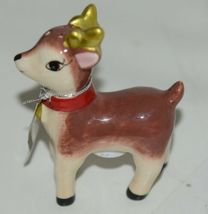 Ganz MX177530 Small Deer Painted Glass Salt Pepper Shakers Red Bow image 3
