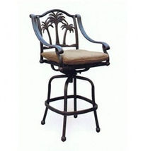 Fire pit propane bar table set 7 piece outdoor cast aluminum Palm Tree bar stool image 10