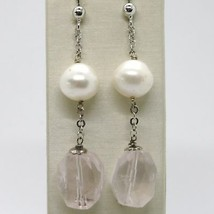 Earrings Silver 925 Rhodium Plated with Quartz Pink & White Pearls image 1