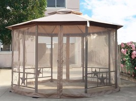 Garden Gazebo Fabric Canopy 12' x 12' Patio Backyard Double Roof Vented ... - $359.99