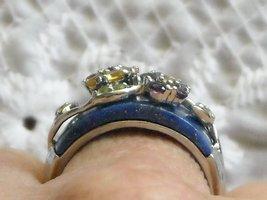 Vintage Sterling Ring Inlaid Laips Lazuli & Gemstones Set In Sterling Flowers 9 image 2