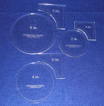 """6 Piece Set Quilt Templates  ~1/4""""  Clear Acrylic - Circle within Square... - $38.99"""