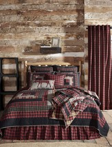 8-pc Cumberland Queen Quilt Set - Red Plaid Edition - Vhc Brands - Log Cabin