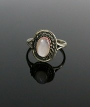 Vintage 925 Sterling Silver 2.4g Southwestern Mother of Pearl Rope Ring ... - $16.93