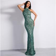 Celebrity Style Sleeveless Green Halter Flash Sequined Elegant Bodycon Dress image 2