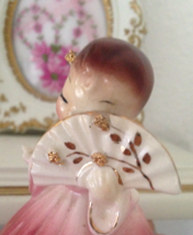 Josef Originals Secret Pal Girl Holding Fan Pink Dress Figurine - $55.00