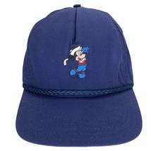Vtg 80s Mickey Mouse Walt Disney World Colorful Golf Rope Strapback Hat EUC Blue - $34.32