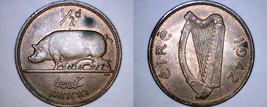 1942 Irish 1/2 Half Penny World Coin - Ireland - $14.99