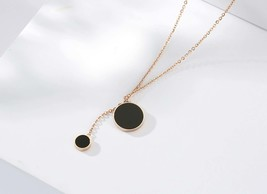 Double Black Circle Charm Necklace, Simple Collar Necklace, Dainty Necklace - $21.79