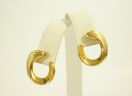 MONET GOLD SCORED TWIST HALF HOOP PIERCED EARRINGS ELEGANT VINTAGE CLASSIC - $14.84
