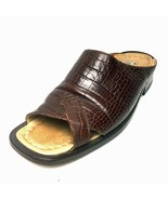 EMILIO FRANCO Brown Reptile Embossed Leather Slip On Dress Sandals Size ... - $98.99