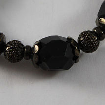 925 STERLING SILVER BURNISH ELASTIC BRACELET WITH BLACK ONYX NUGGETS AND SPHERES image 4