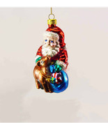 Vintage Santa Glass Ornament with Baby Reindeer and Gift Sack - $16.40
