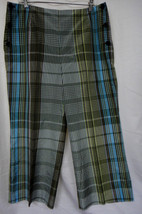 TALBOTS Silk Blend Comfort Fit Capri Pants Fully Lined Blue Green Plaid ... - $26.45