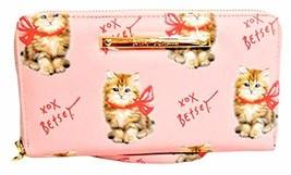 Betsey Johnson XOX Fluffy Calico Kitten Pink Bow Zip Around Wallet Wristlet, Med