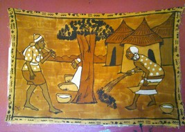 Unique Tribal Canvas Tapestry Wall Hanging Exotic Native Women Working Art - $173.25