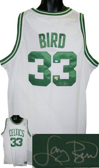 Larry Bird signed Boston Celtics Green White Adidas Swingman Jersey- Bird Hologr