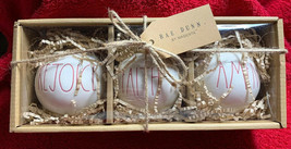 Rae Dunn Ceramic Ball Christmas Holiday Ornaments Set of 3 LL REJOICE FA... - $31.67