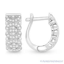 925 Sterling Silver Rhodium Cubic Zirconia CZ Crystal Micro-Pave Huggie Earrings - $78.40