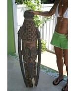 4ft Ancestral Hand carved Polychrome Crocodile Cult Mask Sepik New Guine... - $664.99