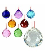 """FENG SHUI HANGING CRYSTAL BALL 1.25"""" 30mm Choice of Colors Faceted Prism... - $5.95"""