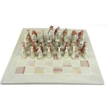"Hand Carved Soapstone Animal Chess Set - 15"" Board - Smolart - $79.99+"