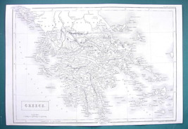 "KINGDOM OF GREECE - c. 1835 Original Map 11 x 16"" - $22.95"
