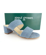 New PAUL GREEN Size 6 MEG Denim Suede Double Strap Slide Sandals Shoes - $139.00